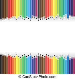 vettore, matite, grafico, organizzato, colorito, background-, file