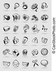 vettore, media, buttons., illustration., icone