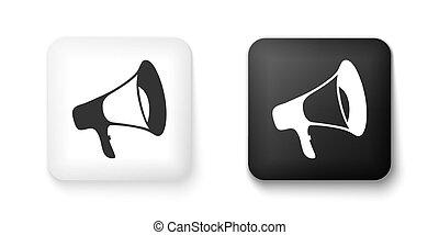 vettore, megafono, isolato, icona, quadrato, button., fondo., nero, bianco