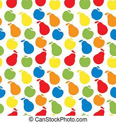 vettore, mela, pera, modello, -, seamless, frutta