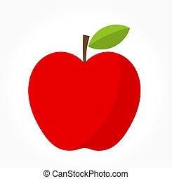 vettore, mela, rosso