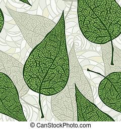 vettore, mette foglie, verde, seamless, vendemmia