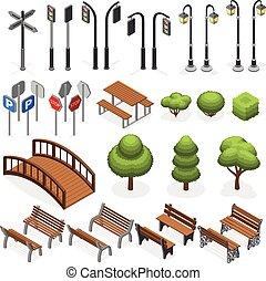 vettore, miniatura, posti, strada urbana, albero, segni, lampione, oggetti, città, isometrico, panche, strada