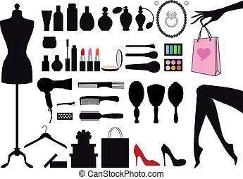 vettore, moda, set, bellezza