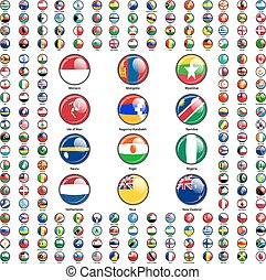 vettore, mondo, states., set, bandiere, illustrazione, sovrano