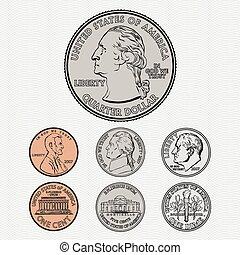 vettore, monete, fondo