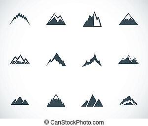 vettore, montagne, set, nero, icone