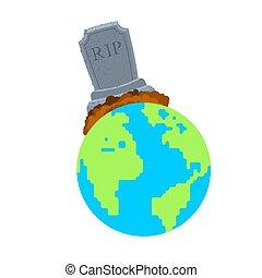 vettore, morto, disaster., pianeta, vita, illustrazione, no, earth., pietra tombale