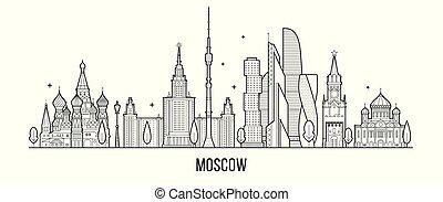 vettore, mosca, linea, russia, città costruzioni, orizzonte
