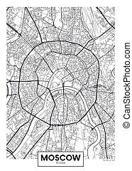 vettore, mosca, mappa urbana, manifesto