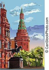 vettore, moscow-7, disegno, colorito, mano