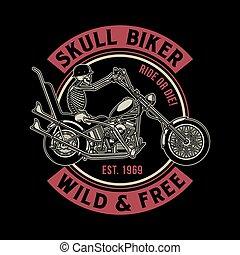 vettore, motociclista, vendemmia, illustrazione, cranio