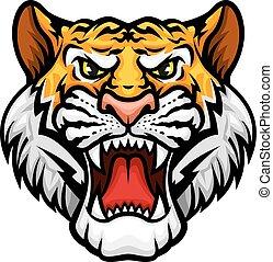 vettore, muso, tiger, ruggire, icona, mascotte, testa