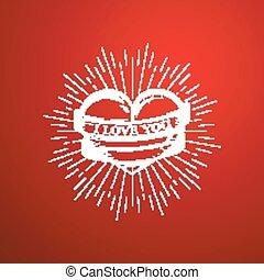 vettore, nastro, rays., valentines, scoppio, you., cuore, amore, luce, felice, giorno, incisione, illustrazione