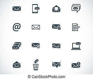 vettore, nero, email, set, icone
