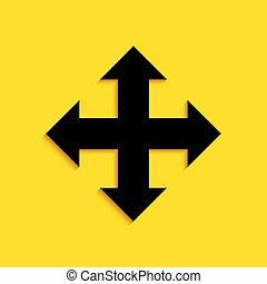 vettore, nero, lungo, quattro, isolato, fondo., giallo, uggia, indicazione, frecce, style., icona