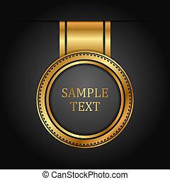 vettore, nero, oro, etichetta