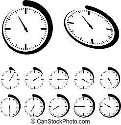 vettore, nero, rotondo, timer, icone