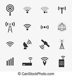vettore, nero, set, differente, fili, icone, wifi