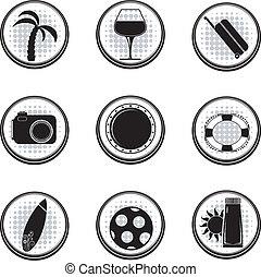 vettore, nero, set, eps10, icons.