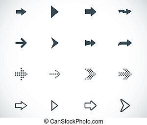 vettore, nero, set, frecce, icone
