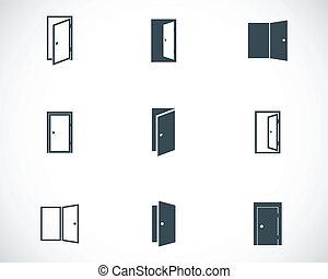 vettore, nero, set, porta, icone