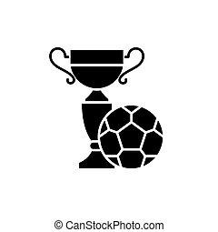 vettore, nero, simbolo, gioco, campo, icona, isolato, segno, football, illustrazione, concetto, fondo.