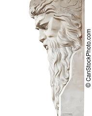 vettore, nettuno, isolato, statua, white.