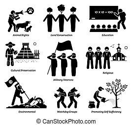 vettore, nonprofit, organizzazione, benessere, set., fondazione, npo