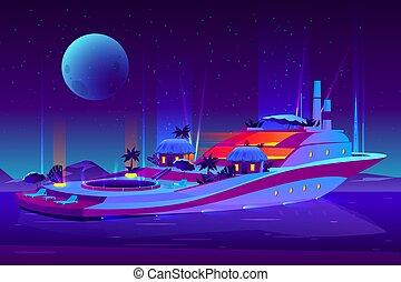 vettore, notte, futuro, crociera, festa, nave