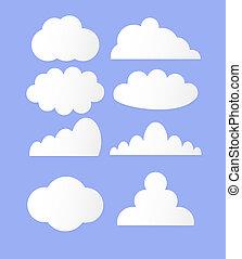 vettore, nubi, illustrazione, collezione