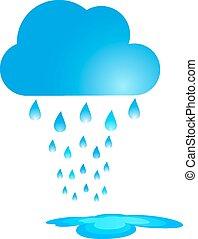 vettore, nuvola, blu, pioggia, illustration.