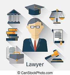 vettore, o, avvocato, avvocato, fondo, giurista, concetto