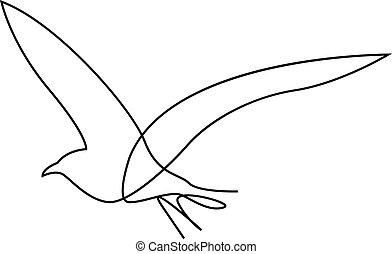 vettore, o, gabbiano, disegno, gabbiano, stile, linea, mano, disegnato, mosche, minimalismo, uno, illustrazione, silhouette.