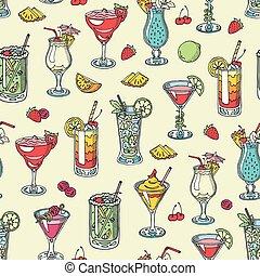 vettore, o, potabile, cosmopolita, alcool, cocktail, alcolico, modello, tequila, bevanda, seamless, vetro martini, mojito, bevanda, fondo, colada, bellinis, bere, pina