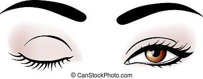 vettore, occhi, donna