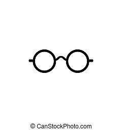 vettore, occhiali, icona
