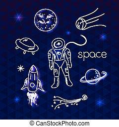 vettore, oggetti, spazio
