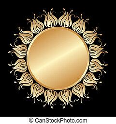 vettore, oro, ornament.