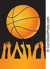 vettore, pallacanestro, fondo