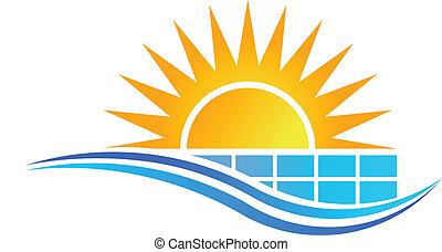 vettore, pannello solare
