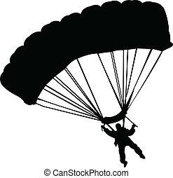 vettore, -, paracadutisti