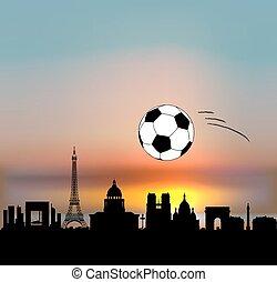 vettore, parigi, palla, fottball/soccer, orizzonte