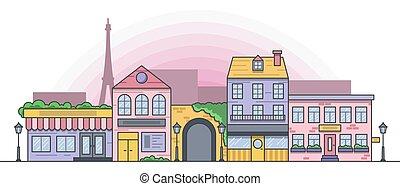 vettore, parigino, città, illustrazione, strada
