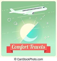 vettore, passeggero, viaggiare, concetto, aeroplano