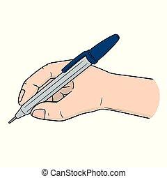 vettore, penna, set, scrittura mano