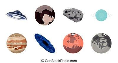 vettore, pianeti, sistema, illustration., set, astronomia, web, cosmo, casato, solare, collezione, simbolo, icone, design.