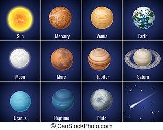 vettore, pianeti, sistema, isolato, fondo, nero, solare, illustration.