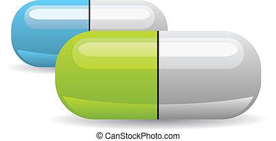 vettore, pillola, illustrazione