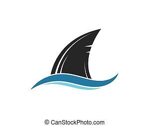 vettore, pinna, illustrazione, squalo, icona